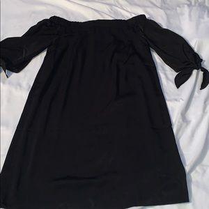 Black off the shoulder tie sleeve dress
